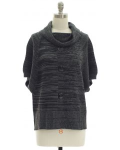 Marled Button Cowl Neck Sweater - Black