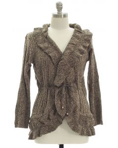 Plus Marled Ruffle Front Cardigan - Taupe