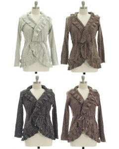 Plus Marled Ruffle Front Cardigan - Assorted