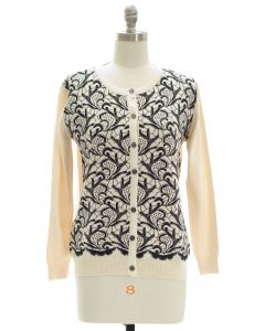 Floral Knit Crew Neck Cardigan - Ivory