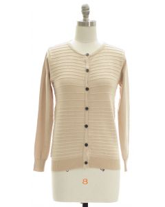 Stripe Knit Sweater Cardigan - Cream