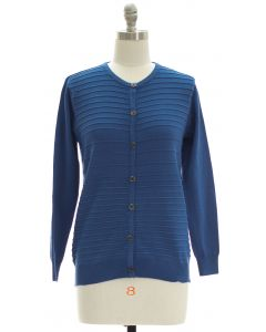 Stripe Knit Sweater Cardigan - Blue