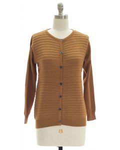 Stripe Knit Sweater Cardigan - Mustard