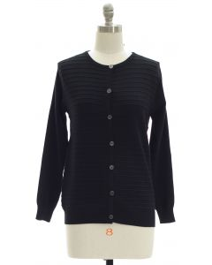 Stripe Knit Sweater Cardigan - Black