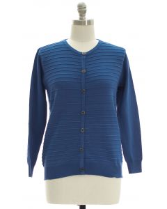 Plus Crew Neck Raised Knit Cardigan - Blue