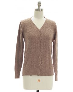 V Neck Crosshatch Cardigan - Taupe