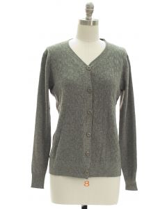 V Neck Crosshatch Cardigan - Grey