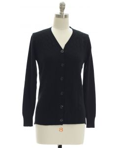 V Neck Crosshatch Cardigan - Black