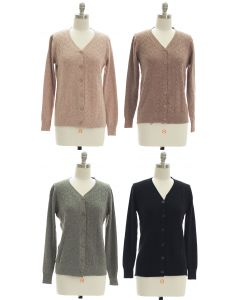 V Neck Crosshatch Cardigan - Assorted