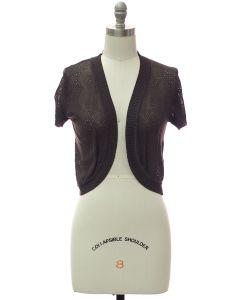 Quilt Knit Bolero - Charcoal