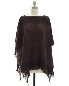 Border Detail Pullover Poncho - Brown