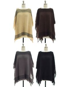 Border Detail Pullover Poncho - Assorted