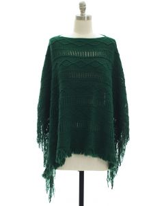 Pullover Knit Poncho - Green