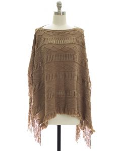 Pullover Knit Poncho - Taupe
