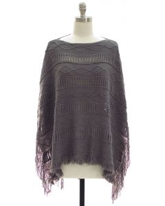 Pullover Knit Poncho - Grey