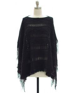 Pullover Knit Poncho - Black