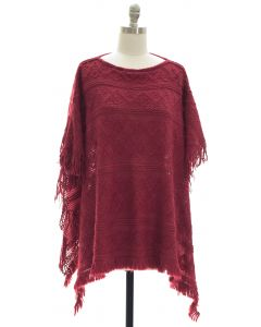 Pullover Knit Poncho - Plum
