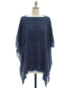 Pullover Knit Poncho - Blue