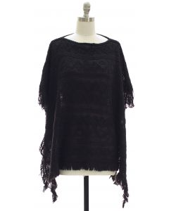 Pullover Knit Poncho - Black