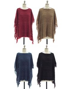 Pullover Knit Poncho - Assorted