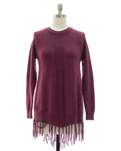 Fringe Pullover Tunic Sweater - Plum