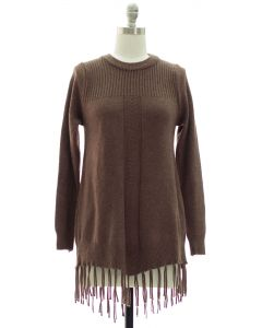Fringe Pullover Tunic Sweater - Brown