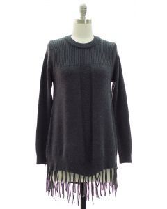 Fringe Pullover Tunic Sweater - Charcoal