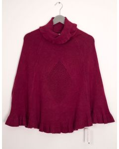 Cowl Neck Pullover Poncho Sweater - Wine