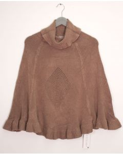 Cowl Neck Pullover Poncho Sweater - Taupe
