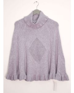Cowl Neck Pullover Poncho Sweater - Grey