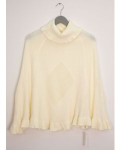 Cowl Neck Pullover Poncho Sweater - Ivory