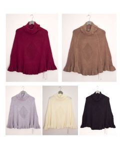 Cowl Neck Pullover Poncho Sweater - Assorted