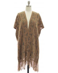 Open Shawl Poncho - Taupe