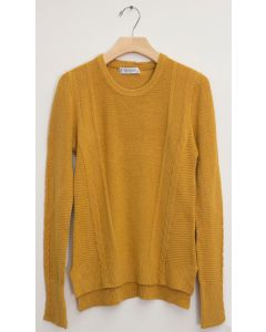 Side Slit High Low Sweater - Mustard