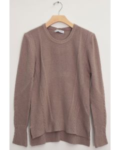 Side Slit High Low Sweater - Taupe