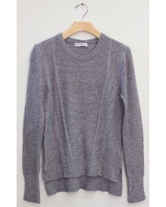 Side Slit High Low Sweater - Grey