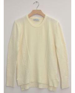 Side Slit High Low Sweater - Cream