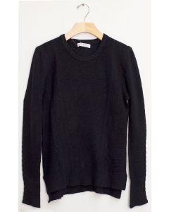 Side Slit High Low Sweater - Black