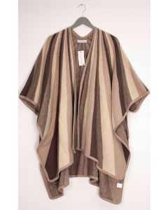 Vertical Multi Stripe Cape - Taupe
