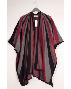 Vertical Multi Stripe Cape - Wine