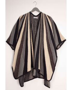 Vertical Multi Stripe Cape - Brown