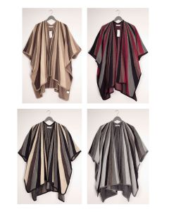 Vertical Multi Stripe Cape - Assorted