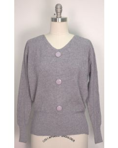 V Neck Button Sweater - Grey