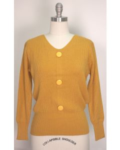 V Neck Button Sweater - Mustard