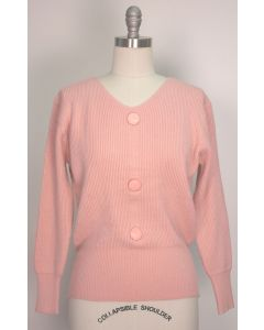 V Neck Button Sweater - Pink