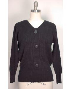 V Neck Button Sweater - Black