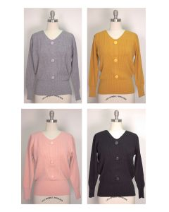 V Neck Button Sweater - Assorted
