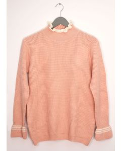Tipped Ruffle Mock Neck Sweater - Pale Pink