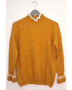 Tipped Ruffle Mock Neck Sweater - Mustard