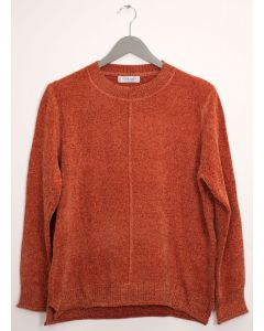Center Seam Chenille Sweater - Rust